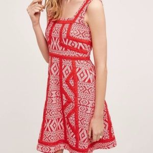 Anthropologie Maeve Red Print Lace A-line Dress